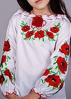 Вышитая блуза для девочки красными маками