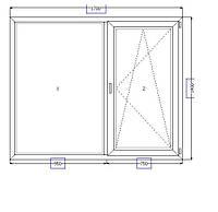 Металлопластиковое окно 1700*1400 в спальню, фото 1
