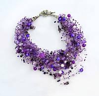 Фиолетовое колье (воздушка) Подарок женщине Ручная работа