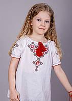 Блуза вышитая для девочки с геометрическим узором на короткий рукав