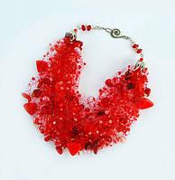 Подарок девушке женщине на 8 марта Красное колье воздушка Ручная работа