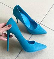 Туфли лодочки голубой замш