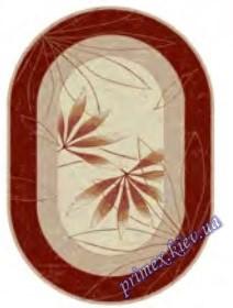 """Синтетический овальный ковер """"Листок""""  Lotos Karat , цвет красно-бежевый"""