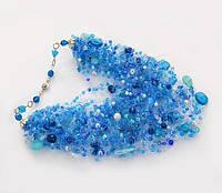 Колье  в подарок для женщины -украшение на шею воздушное голубое