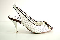 Босоножки женские Carlabei белые из натуральной кожи на каблуке, женские босоножки