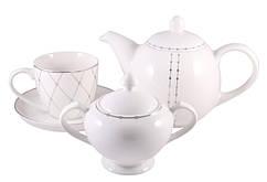Сервиз чайный фарфор 14 пр. Bristol platinum, PDL