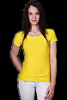 Желтая футболка хлопковая женская