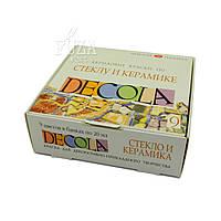 Набор акриловых красок по стеклу и керамике DECOLA, 9 цв. по 20 мл
