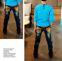 Джинсы на мальчика с эластичным поясом, фото 1