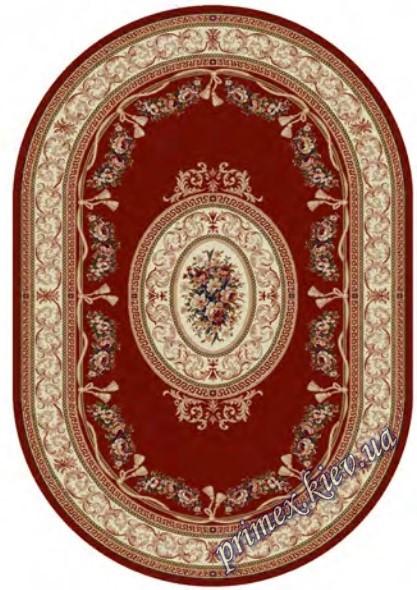 """Синтетический овальный  ковер """"Цветочный орнамент""""  Lotos Karat , цвет красный"""