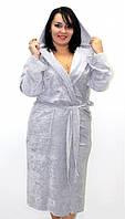 Женский халат на запах с капюшоном, материал велюр, разные цвета и размеры. Розница, опт в Украине.