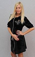 Женское велюровое платье черное