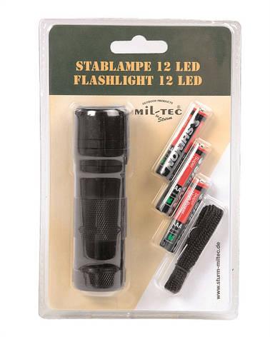 Фонарик ручной 12 LED (3ААА), black Mil-Tec Sturm (Германия), фото 2