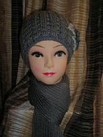 Комплект (шапка с цветком и шарф) темно-серый