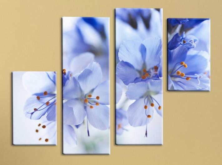 Модульная картина Голубые цветы