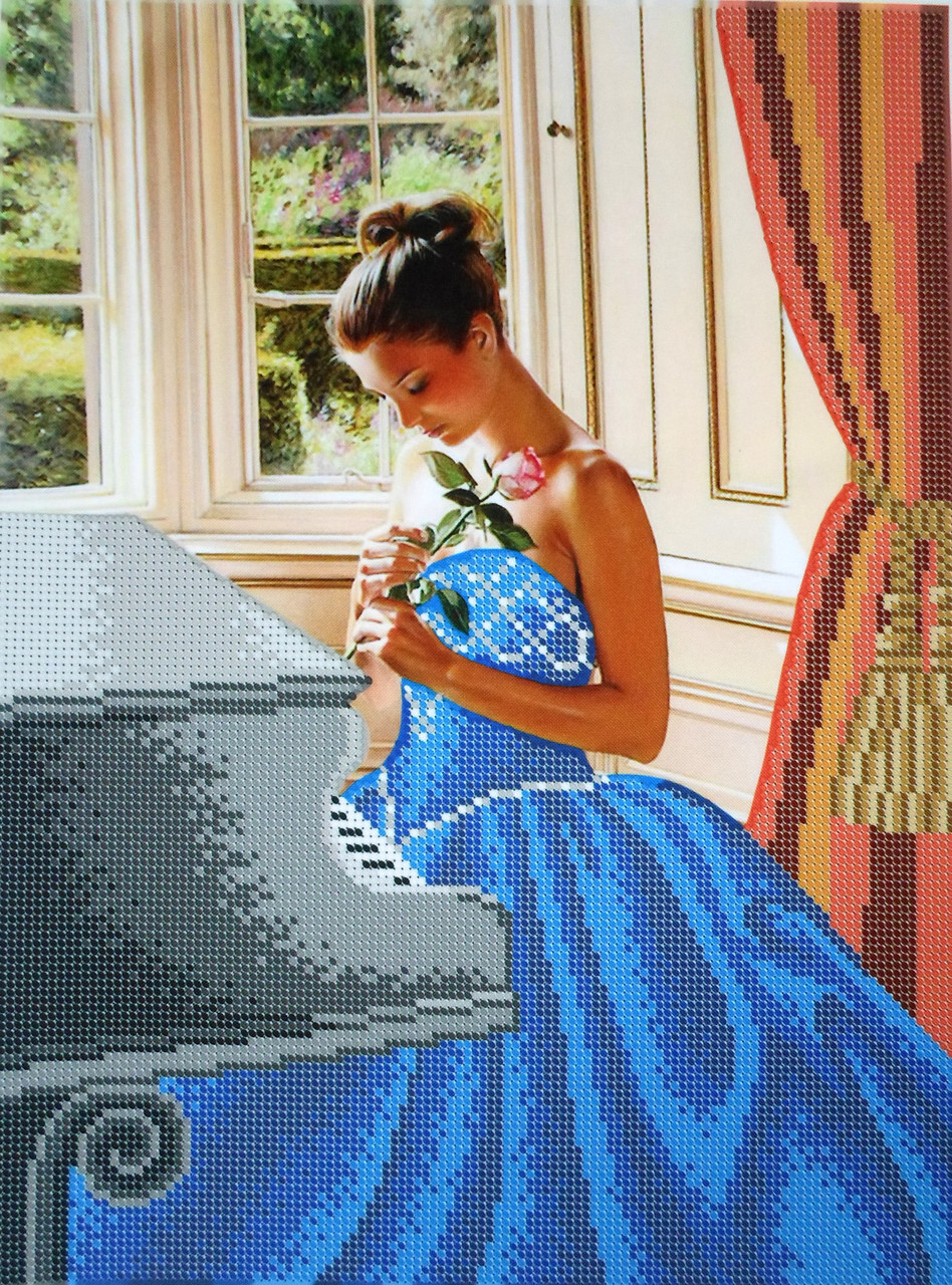 Вышивка бисером у рояля