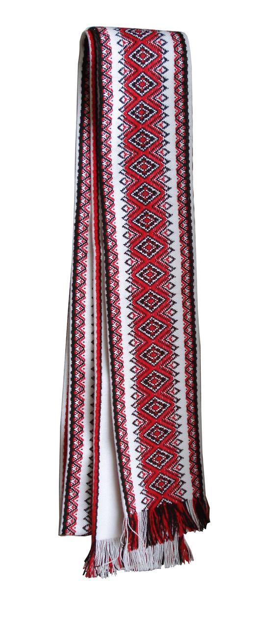 Широкий тканий пояс до вишиванки із вишивкою