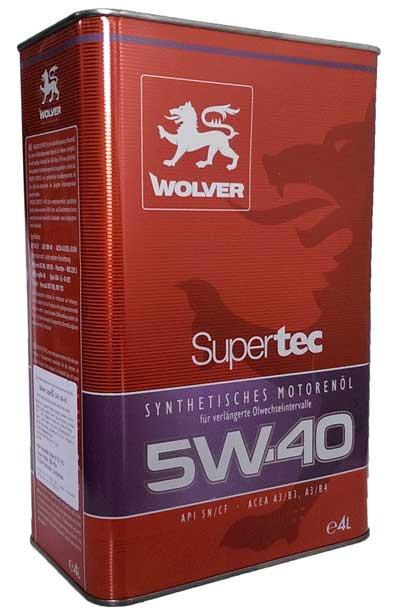 Моторное масло синтетика Wolver(Вольвер) SuperTec 5w40 4л.
