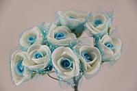 Роза с цветной серединкой искусственная голубая (букет) 5632-1-5-1