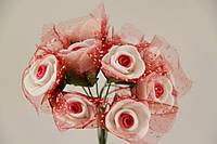 Роза с цветной серединкой искусственная красная (Букет) 5632-1-5-1