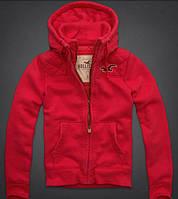 Спортивная мужская красная трикотажная куртка Hollister