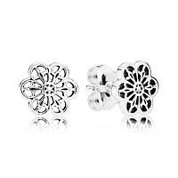 Серьги-пусеты Цветочное кружево из серебра 925 пробы