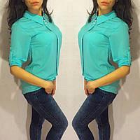 Блузка с рукавом по локоть и рубашечным воротником
