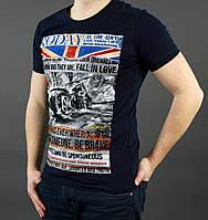 Модная мужская летняя футболка темно-синего цвета