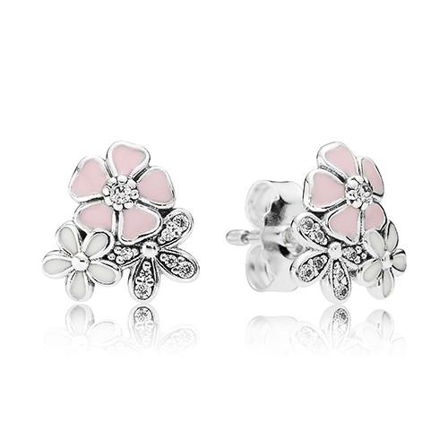 Серьги-пусеты «Цветочное настроение» из серебра 925 пробы