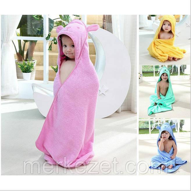 """Махровое полотенце """"Цветной Мишка"""". Уголок для купания. Полотенце с капюшоном. Пончо детское"""