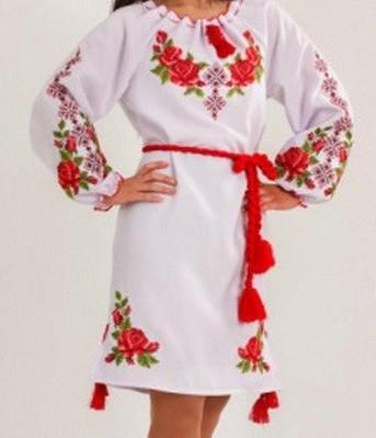 """Нарядное платье с вышивкой с длинным рукавом """"Розария"""" , 40-50 р-ры, 565/515 (цена за 1 шт. +50 гр.)"""