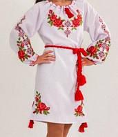 """Нарядное платье с вышивкой с длинным рукавом """"Розария"""" , 52-56 р-ры, 575/525 (цена за 1 шт. +50 гр.)"""