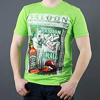 Молодежная мужская летняя футболка салатового цвета