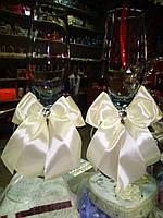 Украшения для свадебных бокалов Бантики