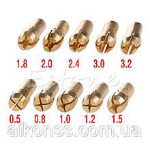 Набір цанг 10 шт / 0,5-3,2 мм / 4,8 мм / гравер дриль