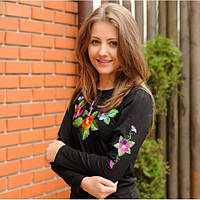 Женская футболка-вышиванка с длинным рукавом Анютыны глазки до 56 размера