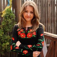 Женская футболка-вышиванка на осень с длинным рукавом Мак большой до 48 размера