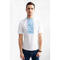 Мужская вышитая футболка с синим орнаментом размер 44-56
