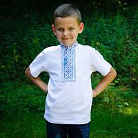 Футболка вышиванка на мальчика с синим орнаментом короткий рукав размер 92-152
