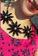 """Колье на шнурке 50232 """"Адель"""" камни в черном цвете"""
