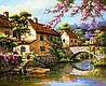 Картина для рисования камнями стразами Diamond painting Алмазная вышивка Италия- мост на набережной