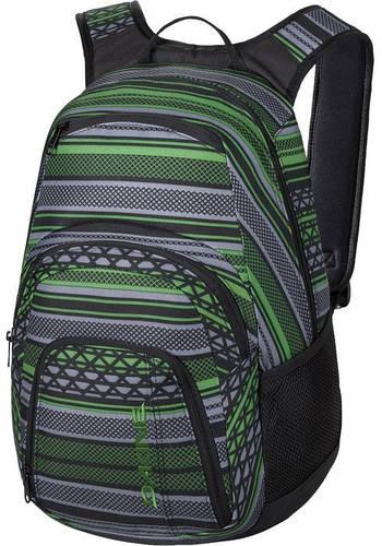 Замечательный рюкзак в полоску с уплотненной спинкой Dakine CAMPUS 25L verde 610934903249 черный/зеленый