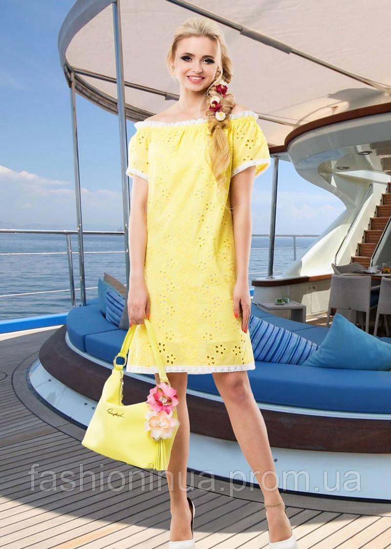 Желтое воздушное платье