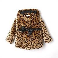 Полушубок-пальто осенный на девочку*Леопард*
