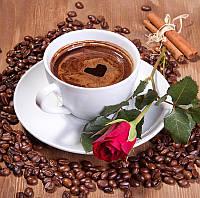 """Набор для вышивания стразами Алмазная вышивка мозаика """"Чашка кофе и роза"""""""