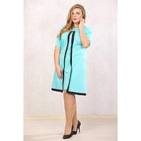 Женское платье с абстракцией большие размеры Марша цвет мята размер 48-72
