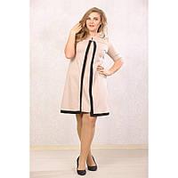 Женское платье с абстракцией большие размеры Марша цвет бежевый размер 48-72