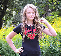 Женская футболка-вышиванка короткий рукав Мак богатый до 56 размера