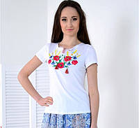 Женская вышиванка  Радуга цвет белый до 56 размера