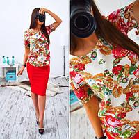Женский стильный костюм: цветочная блуза и юбка
